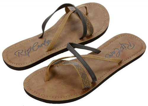 RIP CURL WOMENS FLIP FLOPS.JORDAN FAUX LEATHER BROWN THONGS SANDALS 7S TAJ1 6763